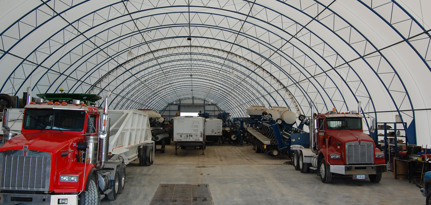 Interior of Fabric Equipment Storage Building