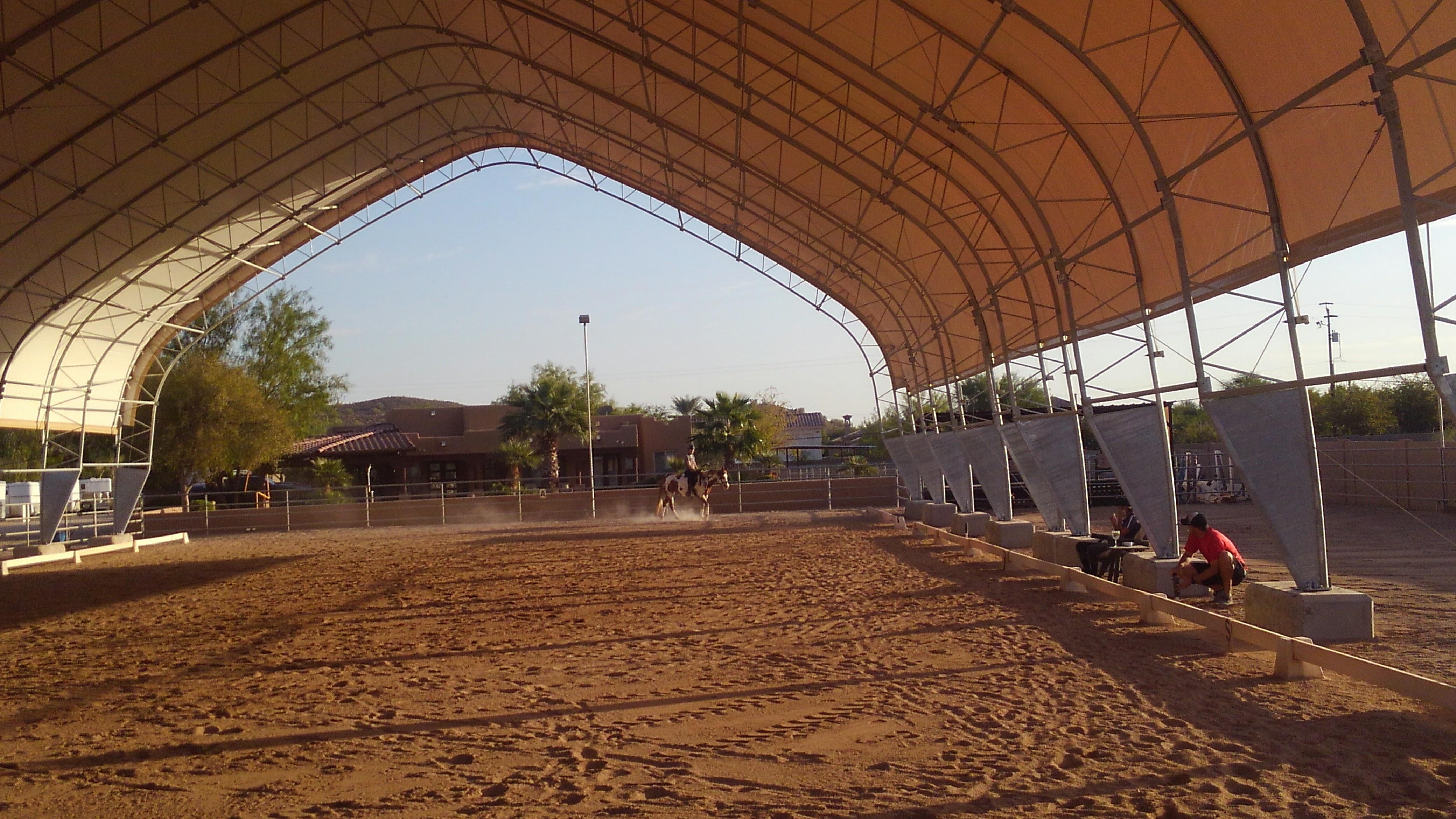 Inside Fabric Riding Arena